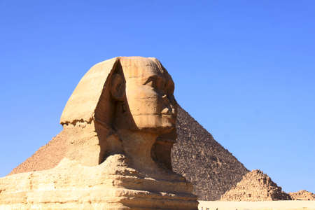 great ancient sculpture of egyptian sphinx and pyramid Stock Photo - 6210620