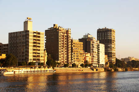 nile: Cairo from the river Nile bridge Sunset