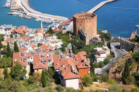 Port Alanya and red brick tower  photo