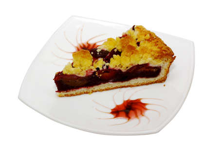 slits: Freshly baked plum cake