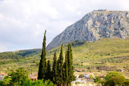 peloponnise: Acrocorinth fortified mountain at Peloponnesus, Greece Stock Photo