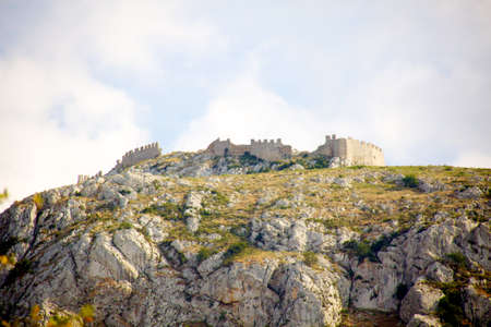 arkadia: Acrocorinth fortified mountain at Peloponnesus, Greece Stock Photo
