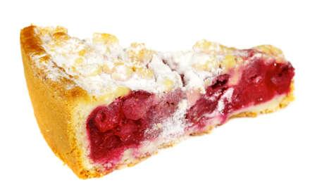 delicous crumb cake with plum isolated photo