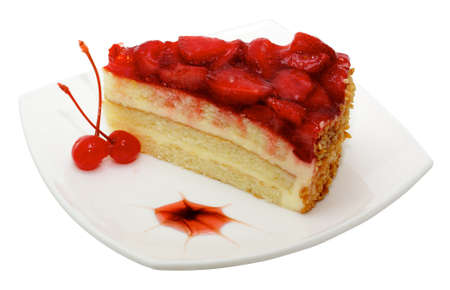vanilla pudding: cake with strawberry topping