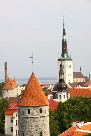 Old Tallinn panorama with Baltic sea on background photo