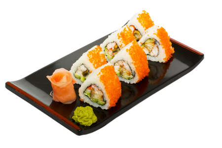 sushi plate: japan trditional food - roll Stock Photo