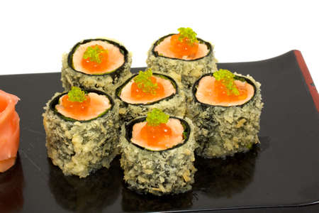 person appetizer: japan trditional food - roll Stock Photo
