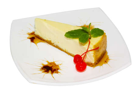 Dessert - Cheesecake with Green Mint Stock Photo - 8462905