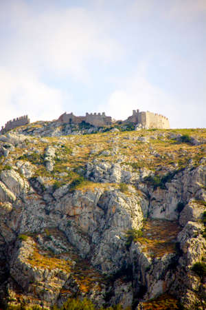 peloponissos: Acrocorinth fortified mountain at Peloponnesus, Greece Stock Photo
