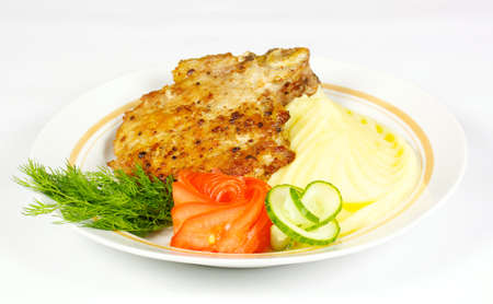 mouth watering: A mouth watering tenderloin steak with fresh vegetables and potatoe  Stock Photo