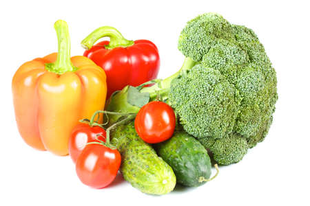 tomato cherry: pepper, broccoli, tomato, cherry, cucumber isolated Stock Photo