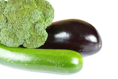 Zuccini, eggplant and broccoli isolated  photo