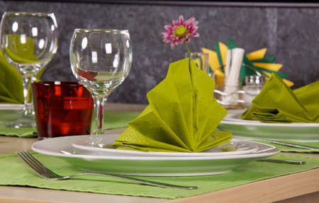 serving of table for a supper in a restaurant Stock Photo