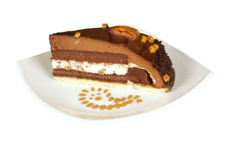 cake truffle with black chocolate and nuts  photo