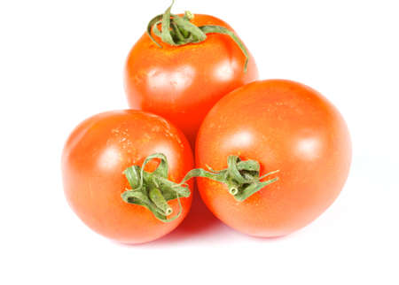three beautiful fresh tomato in white background photo