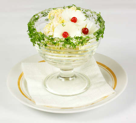 fresh made spring egg salad with vegetables om the white photo