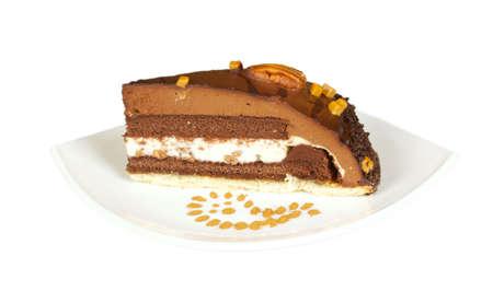 custard slice: cake truffle with black chocolate and nuts