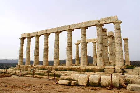 The Temple of Poseidon at Sounion Greece Stock Photo