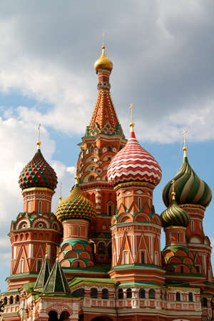 The Cathedral of Saint Basil the Blessed or simply Pokrovskiy Cathedral is a multi-tented church on the Red Square in Moscow. It is an international symbol for the nation and for the city of Moscow. Stock Photo - 9802470