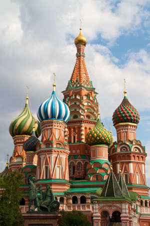 The Cathedral of Saint Basil the Blessed or simply Pokrovskiy Cathedral is a multi-tented church on the Red Square in Moscow. It is an international symbol for the nation and for the city of Moscow. Stock Photo - 9802462