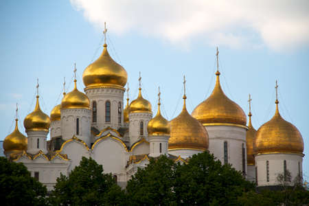 assumption: The Annunciation cathedral (left) and the Assumption cathedral (right) in Moscow Kremlin, Russia.