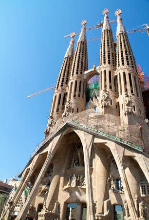 Barcelona, Spanyolország - May 23: La Sagrada Familia - az impozáns székesegyház Gaudi által tervezett, amelyet most építenek, hiszen március 19, 1882, és még nem ért véget május 23, 2011 Barcelona, Spanyolország.