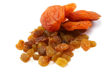 Heap of raisin and dry apricot on a white background Stock Photo - 10106754