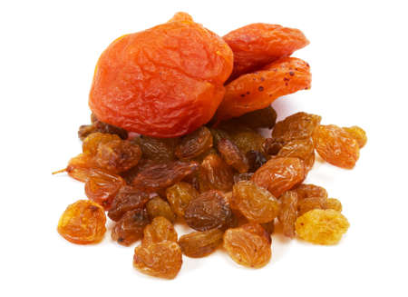 Heap of raisin and dry apricot on a white background Stock Photo - 10228965