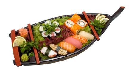 nigiri: Sushi Set - Different Types of Maki Sushi and Nigiri Sushi Stock Photo