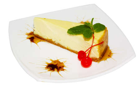 Dessert - Cheesecake with Green Mint Stock Photo - 10350400