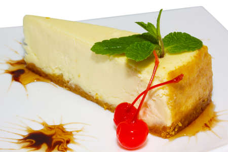 Dessert - Cheesecake with Green Mint Stock Photo - 10349849