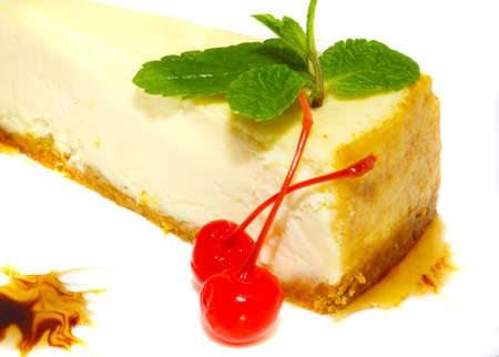Dessert - Cheesecake with Green Mint Stock Photo - 10350159