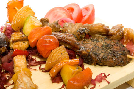 chicken fillet: Plate BBQ meat and vegetables