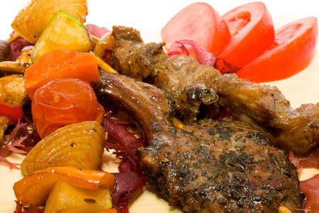 Plate BBQ meat and vegetables photo