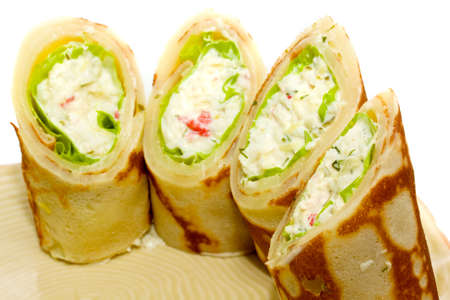 Maki Sushi - Roll made of Smoked Chicken Breast, Cheese, Cucumber and Tomato inside. Pancake ouside. Stock Photo - 10349832