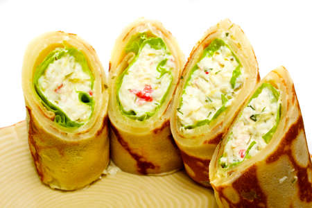 Maki Sushi - Roll made of Smoked Chicken Breast, Cheese, Cucumber and Tomato inside. Pancake ouside. Stock Photo - 10349846