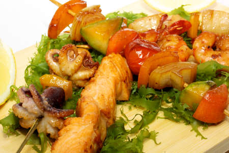 hot barbecue vegetables and seafood photo