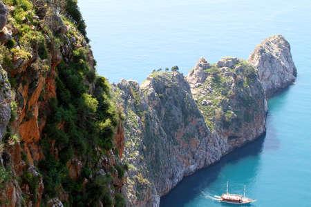 mediteranean: impresive cliff on turkish coastline