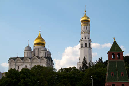 Moscow Kremlin. View on a group of Ortodox churches: Annunciation Cathedral, Cathedral of the Archangel Michael and The Ivan the Great Bell Tower. Moscow, Russia.  photo