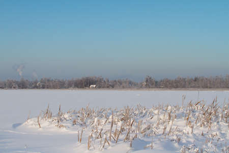 Winter on lake in Russia photo