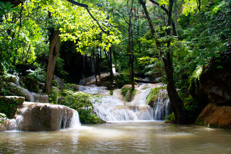 rock creek: Erawan Waterfall, Kanchanaburi, Thailand