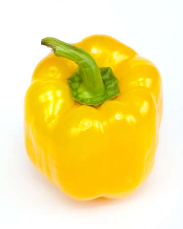yellow pepper paprika on white background isolated photo