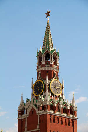 chiming: The Saviour (Spasskaya) Tower of Moscow Kremlin, Russia.