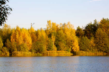 Colorful autumn trees fortress at the river front Stock Photo - 11349458