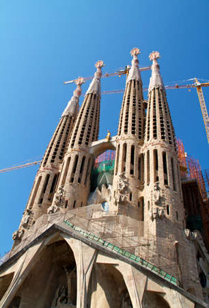 BARCELONA, SPAIN - May 23: La Sagrada Familia - the impressive cathedral designed by Gaudi, which is being build since 19 March 1882 and is not finished yet May 23, 2011 in Barcelona, Spain.