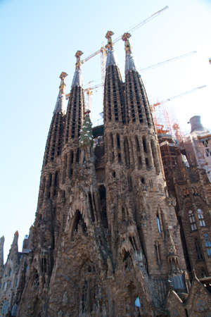 BARCELONA, SPAIN - May 23: La Sagrada Familia - the impressive cathedral designed by Gaudi, which is being build since 19 March 1882 and is not finished yet May 23, 2011 in Barcelona, Spain. Stock Photo - 11348150