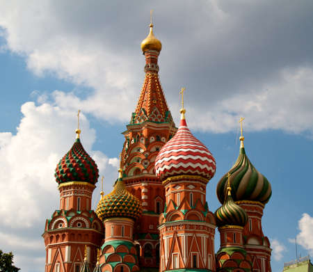 The Cathedral of Saint Basil the Blessed or simply Pokrovskiy Cathedral is a multi-tented church on the Red Square in Moscow. It is an international symbol for the nation and for the city of Moscow. Stock Photo - 11381821