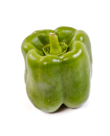 Green yellow pepper isolated on white Stock Photo - 11369920