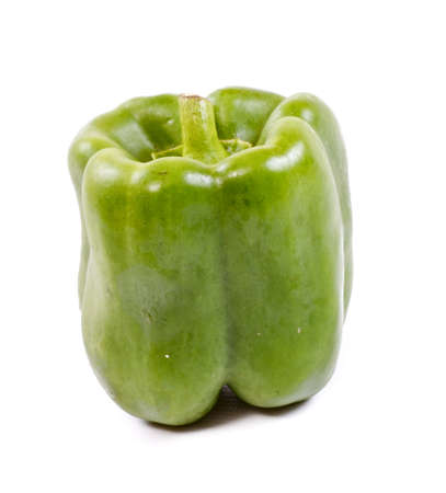 Green yellow pepper isolated on white