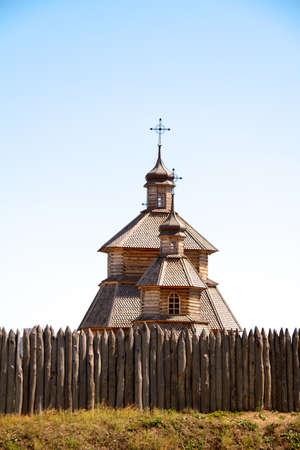 wood church on island Hortitsa Ukraine photo